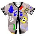 Кофта Runescape Руны Джерси Летний Стиль с кнопки 3d Хип-Хоп Уличной мужская футболки топы повседневная рубашка