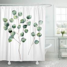 Chống Thấm Nước Tắm Rèm CửA Màu Nước Bạc Đồng Đô La Bạch Đàn Với Vòng Lá Và Cành Cầm Tay Họa Tiết Hoa Trắng Dài Thêm