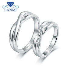 Romantic Lover Solid 14K White Gold Couple Wedding Diamond Ring Fine Jewelry for Anniversary Gift