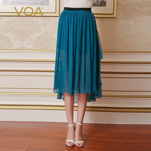 0551ff0b8a2 VOA pure silk georgette skirts 2017 Summer new fashion pleated solid cyan  kene length skirt C5759