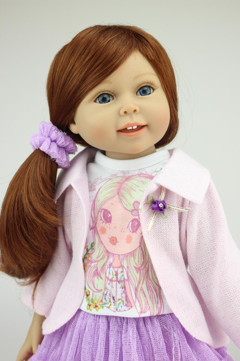 Free Shipping 18 inches Cute Doll Handmade Realistic Toys Full Vinyl American Girl Doll Reborn Baby Girl Gift for Girl lifelike american 18 inches girl doll prices toy for children vinyl princess doll toys girl newest design