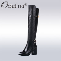 Odetina Brand New 2017 100% Natural Genuine Leather Women Equestrian Riding Boots Buckle Block High Heel Knee Boots Winter Shoes