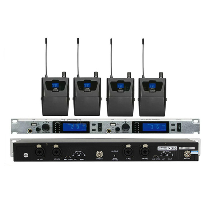 Stereo 4 Receivers + Twin Transmitter Wireless In ear Monitor System Professional for Stage Performance Church, IEM624 stereo system
