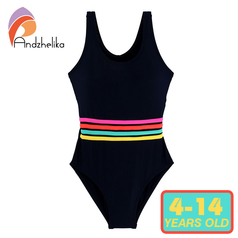 Andzhelika Girls' Swimwear One Piece Swimsuit Girls Solid Swimwear Sports Bodysuit Beachwear Children Swim Suits Bathing Suit andzhelika bikini girls swimsuit child cute bow bikini patchwork sports for girls swimwear children bathing suit beach kid swim