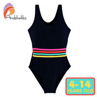 Andzhelika Girls Swimwear One Piece Swimsuit Girls Solid Swimwear Sports Bodysuit Beachwear Children Swim Suits Bathing