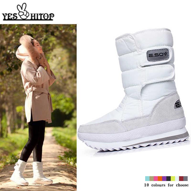 Marka Moda Sıcak kış Kar botları Kadın 2019 Mor snowboots daireler botines nieve mujer Beyaz Kırmızı Siyah Sarı botas mujer