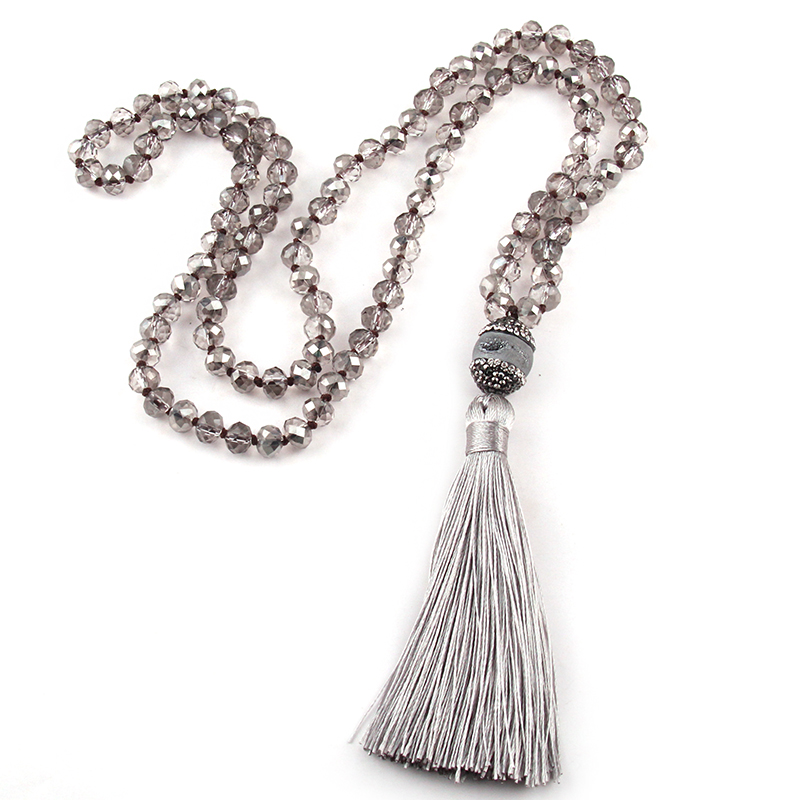 Fashion Bohemian Tribal Jewelry Crystal Glass Knotted Handmake Grey Open druzy Long Tassel Necklaces For Women
