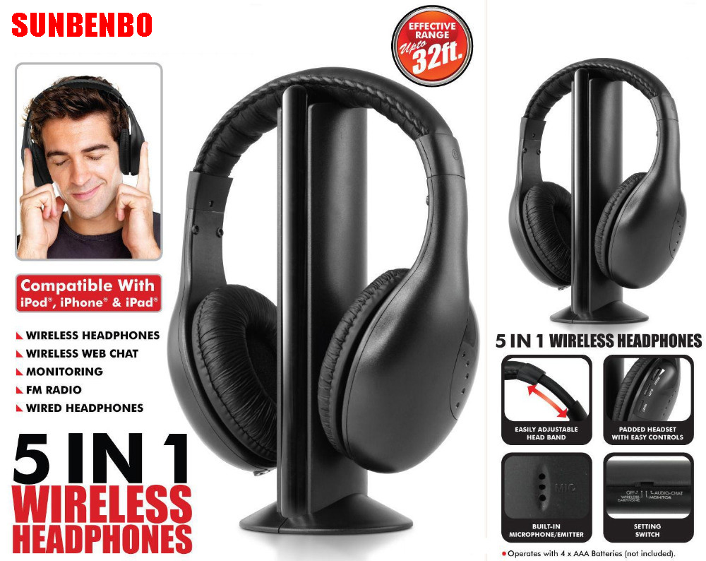 SUNBENBO Multifunction 5 in 1 FM Wireless Headset Earphone for MP4 PC TV CD MP3 Black with FM raido headphone headphones new 5 in 1 hi fi wireless headset headphone earphone for tv dvd mp3 pc r179t drop shipping