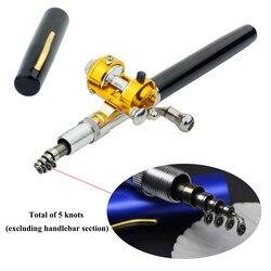 ホットな新ミニポケット伸縮ポールアルミ合金ペン軽量ポータブル形状つ折りロッドリールホイール 釣り竿    -