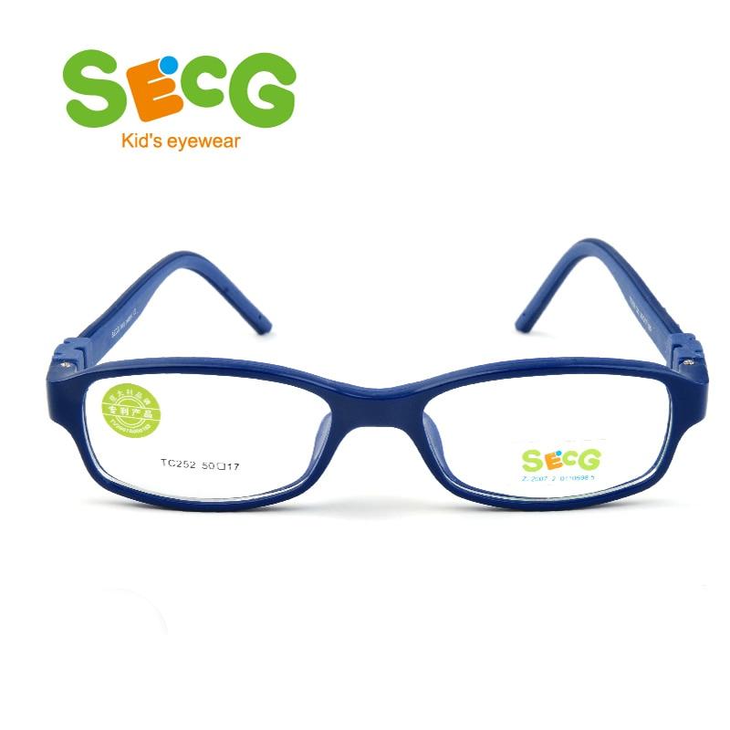 SECG No Screw Optical Myopia Glasses Children Frame Clear Transparent Glasses Ultralight Soft Kids Frame Detachable Eyeglasses