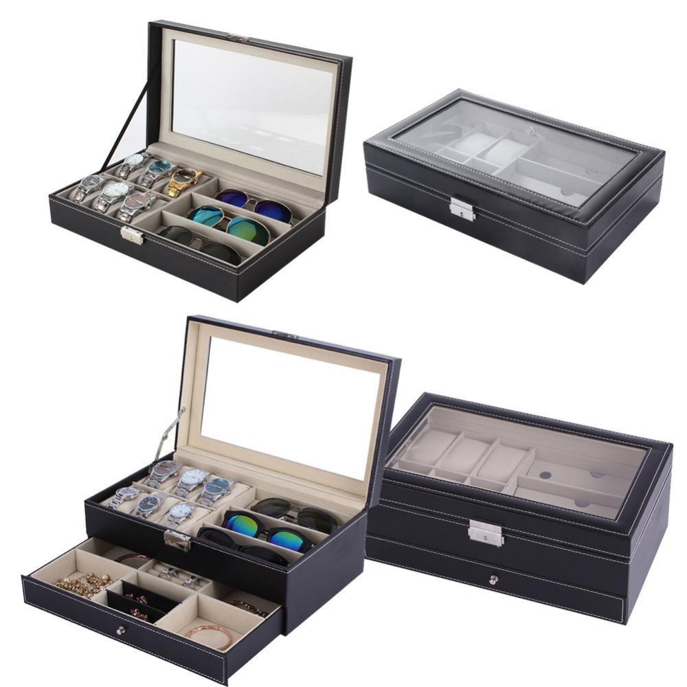 Double /Single Layers PU Leather 6+3 Grids Watch Holder Storage Glasses Organizers Casket Jewelry Display Luxury Gifts