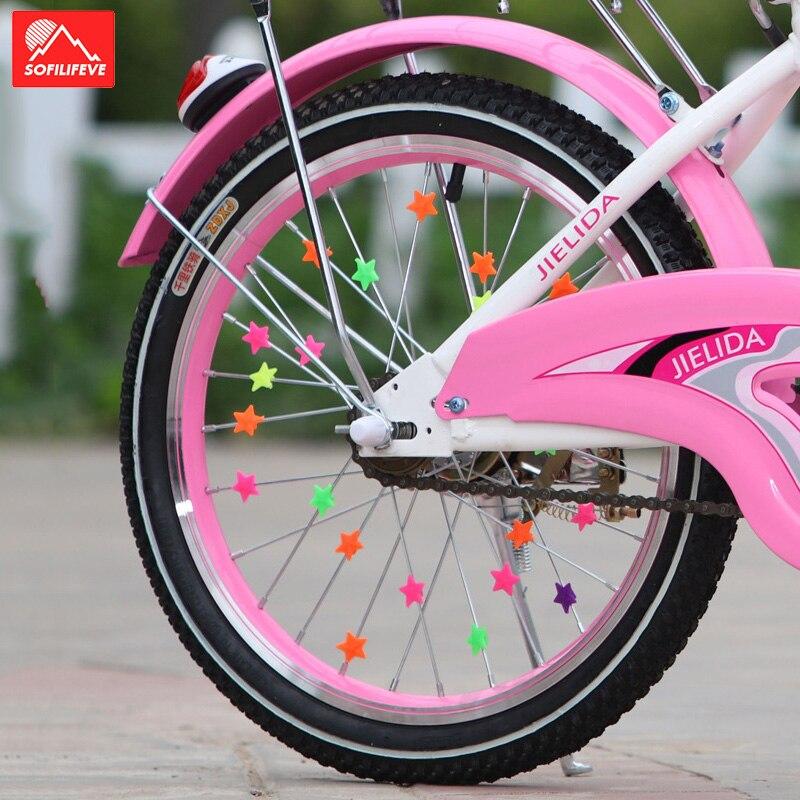 36pcs//lot Bicycle Bike Wheel Plastic Luminous Spoke Bead Star Kids Clip Colored