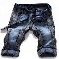 2016 dos homens shorts jeans stretch unindo o lazer moda