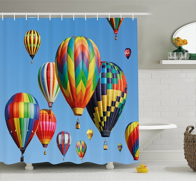 Colorful Shower Curtain Nostalgic Hot Air Balloons In Sky Flying Journey Fun Adventure Hobby Theme Fabric