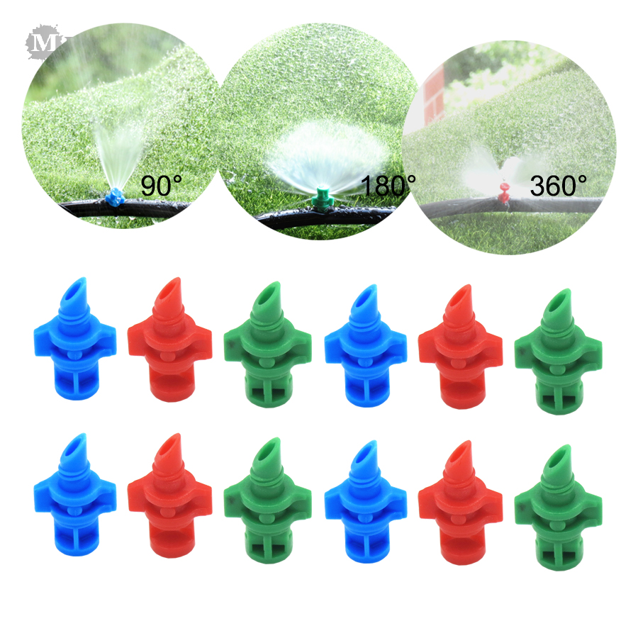 MUCIAKIE 20PCS 90 180 360 Degrees Misting Refraction Spray Nozzle Garden Watering Irrigation For Flower Greenhouse Sprayer