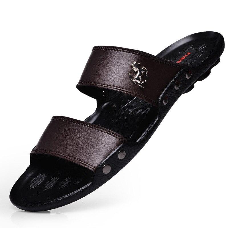 Heißer Verkauf Sandalen Männer Schuhe Sommer Hausschuhe Männer PU Leder Sandalen Schwarz Strand Hausschuhe Alias Hombre Chausson Homme