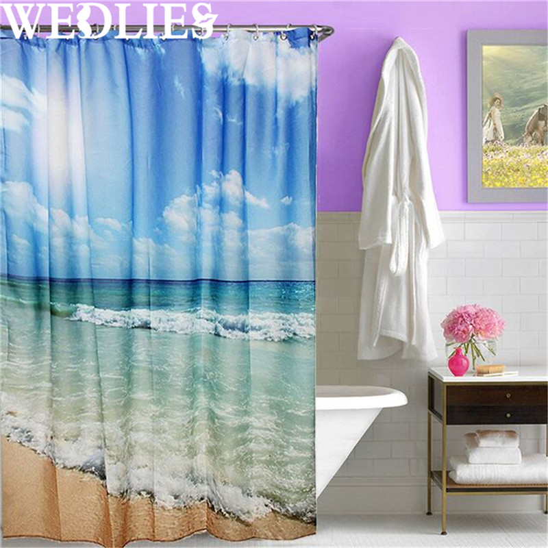 Polyester Sea Beach Waterproof Shower Curtain Shower Bath Screen ...