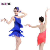 Professional Child Girls Kids Sexy Rhinestone Tassel Dress Ballroom Salsa Dancewear Dance Costume Latin Fringe Dress