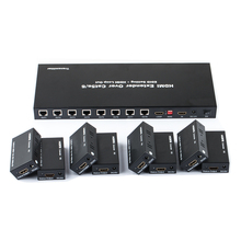 TreasLin 8 Way HDMI Extender Over Cat5e Cat6 Up to 196FT 1080P 60fps HDMI Splitter for TV Camera DVR LED Display Support EDID