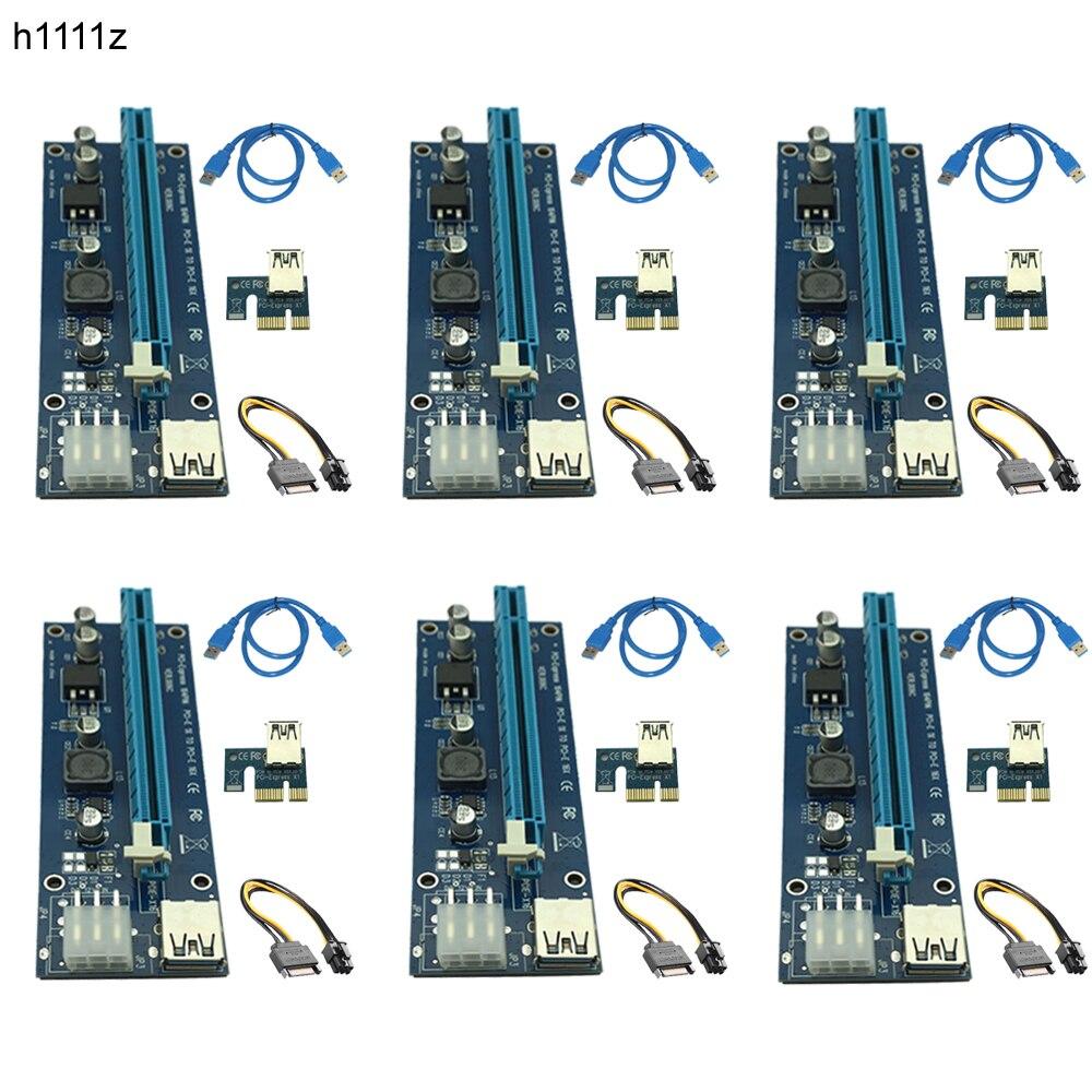 6 pcs 006C USB 3.0 PCI-E Express 1X 4x 8x 16x Extender Riser Carte adaptateur SATA broches Mâle à 6pin Câble D'alimentation pour Bitcoin Minière
