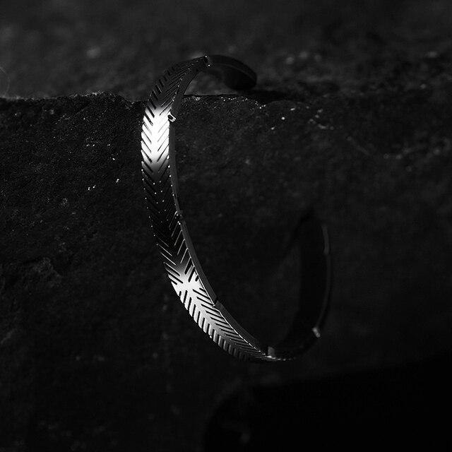 Bracelet en acier inoxydable titane ligne Viking couleur argent Bracelets de manchette hommes femmes manchette bracelet ouvert 5