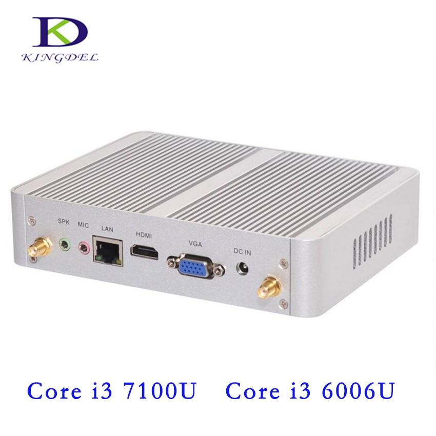 4K HD Mini PC Dual Core I3 6006U I3 7100U Processor HTPC Fanless Mini PC With HDMI VGA 300M Wifi 6*USB