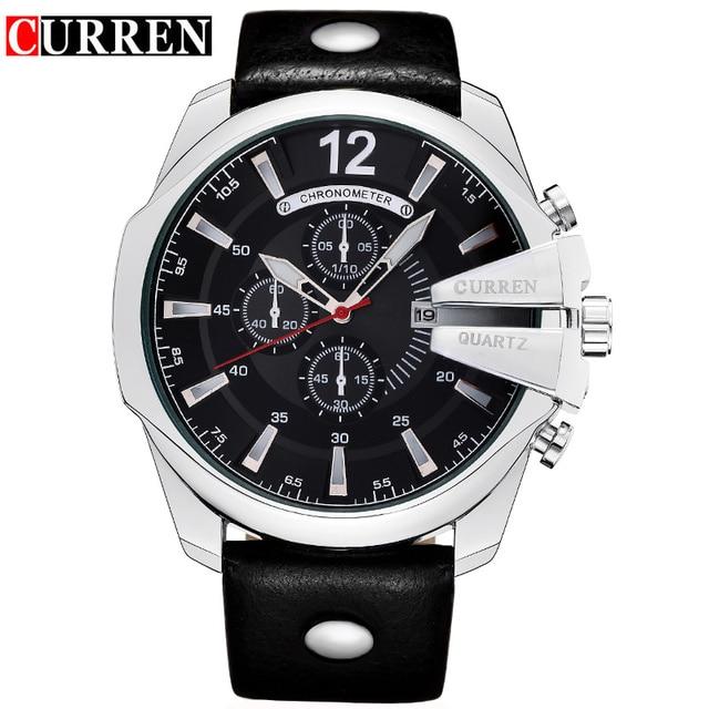 e1ac1d37be1d Curren 8176 hombres relojes Top marca de lujo de oro reloj masculino correa  de cuero de