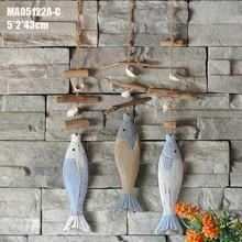 البحر الأبيض المتوسط الزخرفية الأسماك الخشبية الشنق خمر الأزرق الجدار الشنق بحري البحر التماثيل إكسسوارات ديكور منزلي