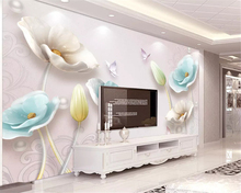 beibehang Custom size Classic wallpaper three-dimensional embossed jewelry tulip European TV background wall papers home decor
