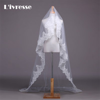 Long Lace Bridal Veils With Comb Wedding Veils Lace Edge Cathedral White Ivory
