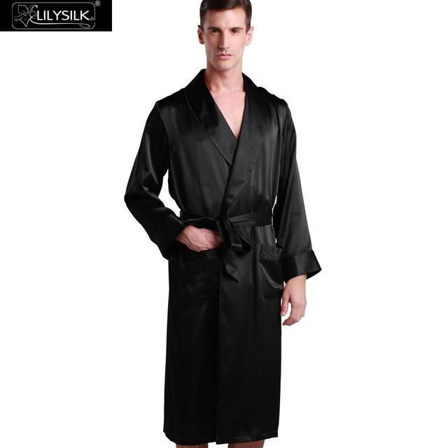 8bafb1797a Lilysilk Bathrobe Men Dressing Gown Chinese Silk Robe Male Pure Black  Sleepwear Lounge Long Plus Size
