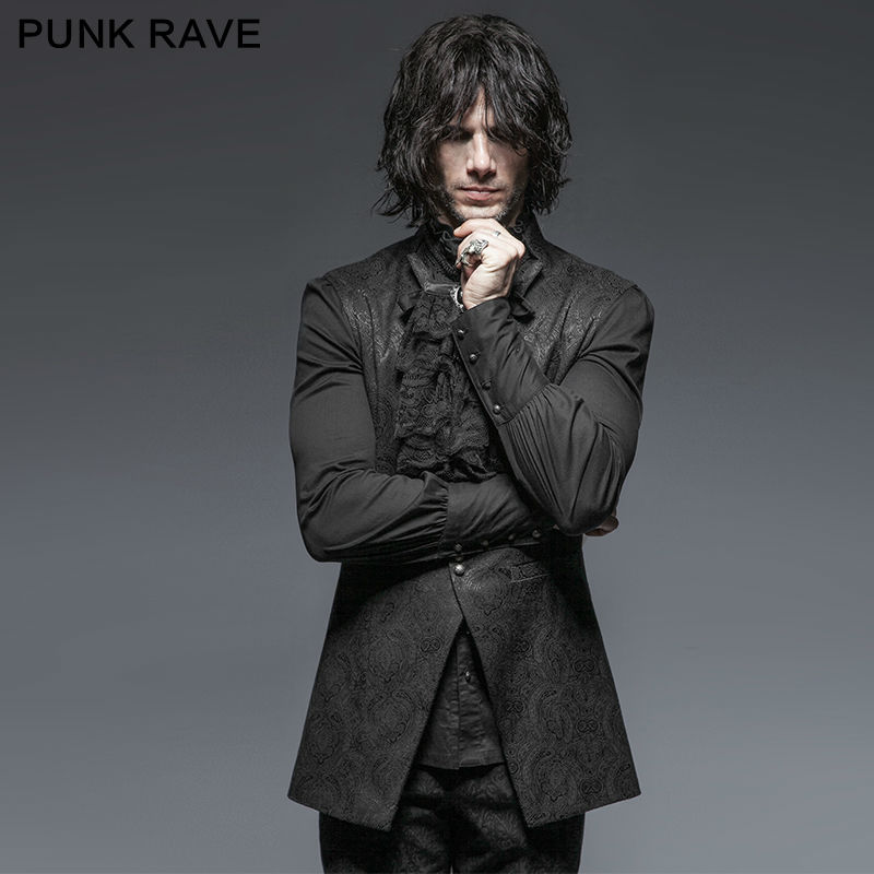 Punk Rave Mens Damask Waistcoat Vest jacket Victorian Steampunk Gothic Vintage S 4XL