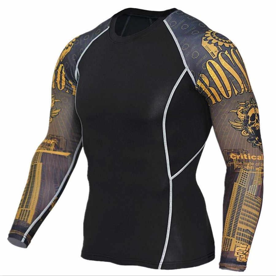 Мужские компрессионные рубашки 3D подростковые Трикотажные изделия с волком футболка с длинным рукавом Фитнес Мужчины лайкра ММА тренировки футболки колготки брендовая одежда