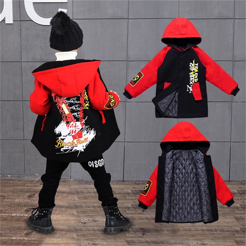 Boys Clothes Winter Warm Hoodies Outerwear  Coats Thick Teenage Boys Jackets Velvet Kids Coats 4-12T Kids Parkas Boys Wool Coat