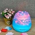 Rose romántica En Forma de Brotes Rotación Proyector de La Noche de Los Niños Niños Bebé Sueño Cielo Estrella USB Llevó La Lámpara de Proyección de Iluminación