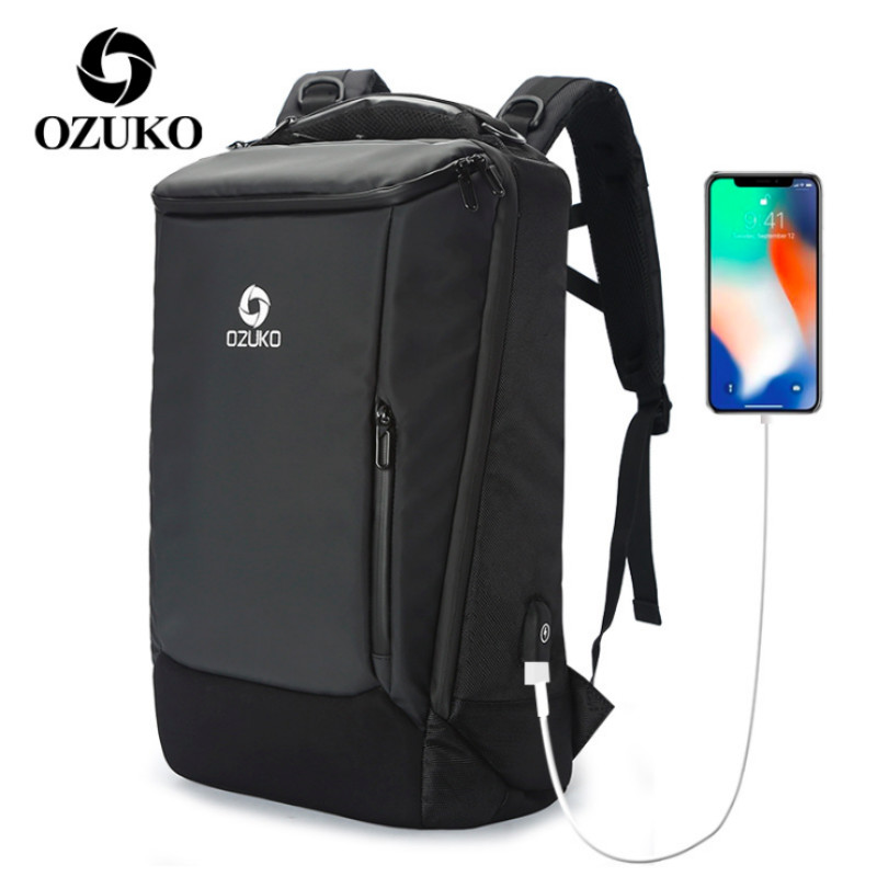 все цены на Business Backpack Men USB Waterproof Oxford Computer Travel Bag Black Fashion Anti theft Laptop Backpack Wholesale Size S/L