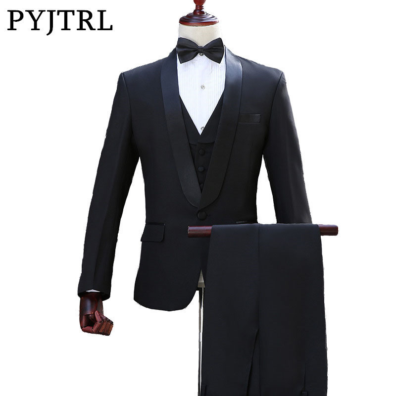 PYJTRL Brand Men's Shawl Lapel White Black Two-Piece Jacket Pants Suit Slim Evening Party Stage Show Performance Men Prom Suits