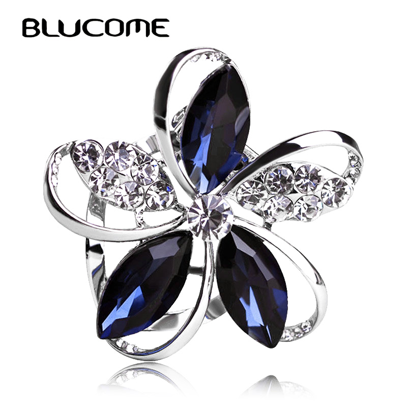 Blucome Gorgeous Blue Crystal Flower Brooches Women's Scarf Buckles