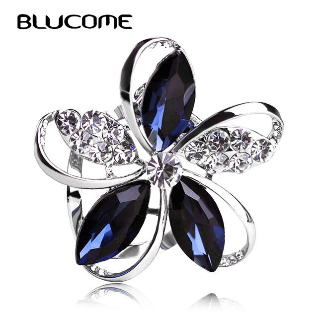 Blucome Gorgeous Blue Crystal Flower Brooches For Women Kids Hats Scarf Buckles