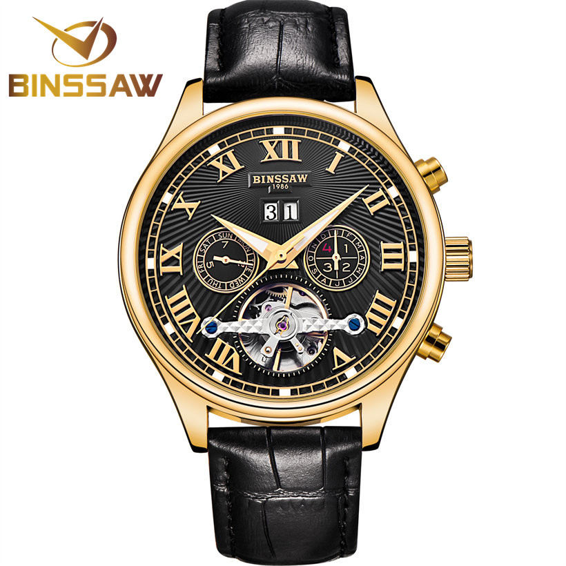 BINSSAW Automatic Watches Men Top Luxury Brand Mechanical Watch Tourbillon Fashion Business Wristwatch Sport Relogio Masculino