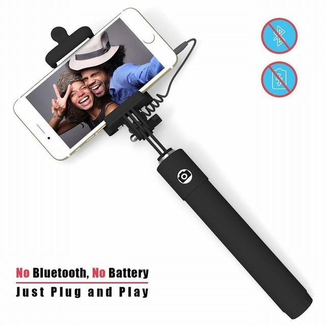 Self-portrait Monopod Extendable Wired Selfie Stick built-in Remote Phone Holder for iPhone 6s 6 plus 5 5s 5c samsung galaxy j5