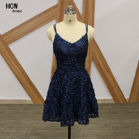 2017 Sexy Navy Blue Cocktail Dress Crossing Back Spagheeti Strap Lace Short Cocktail Party Gowns Mini