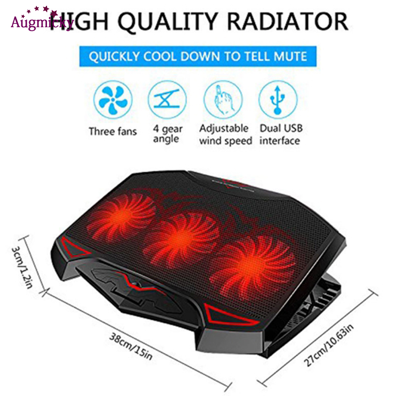 Laptop Cooler Cooling Pad with LED 3 Silent fans USB 2 0 Notebook Adjustable stand Holder For macbook Dell Asus14 quot 15 6 quot 17 inch in Laptop Cooling Pads from Computer amp Office
