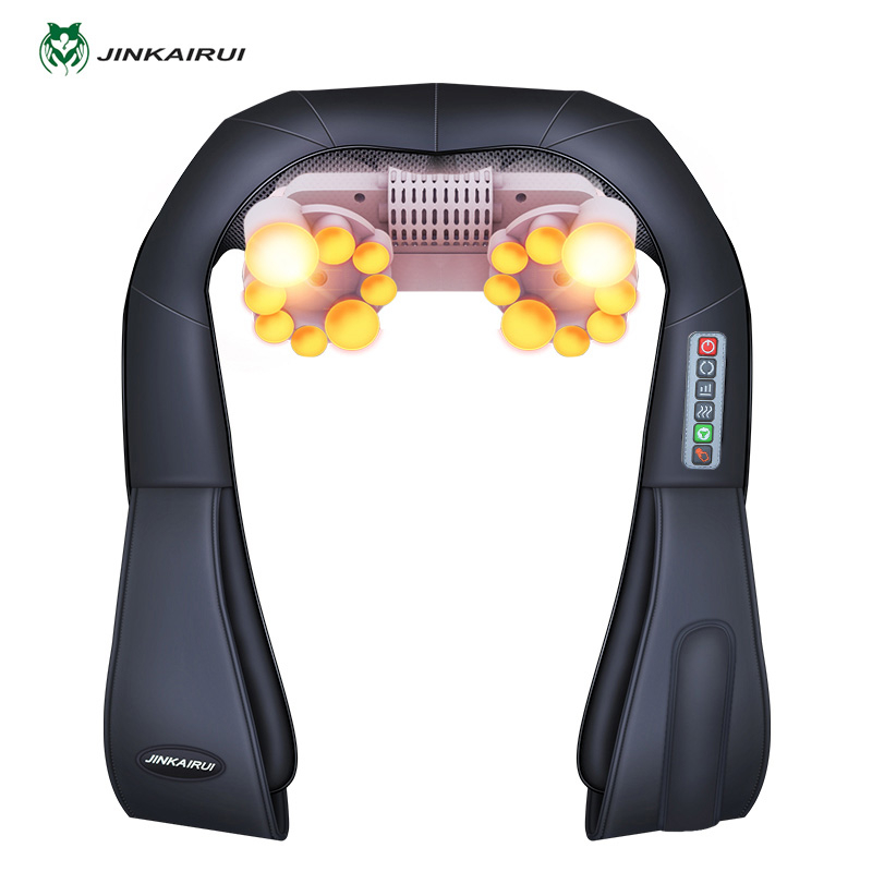 Electrical Neck Shoulder Back Body Massager Shiatsu Kneading Massage Pillow with Infrared Heating Car Home Masaj Device with Box