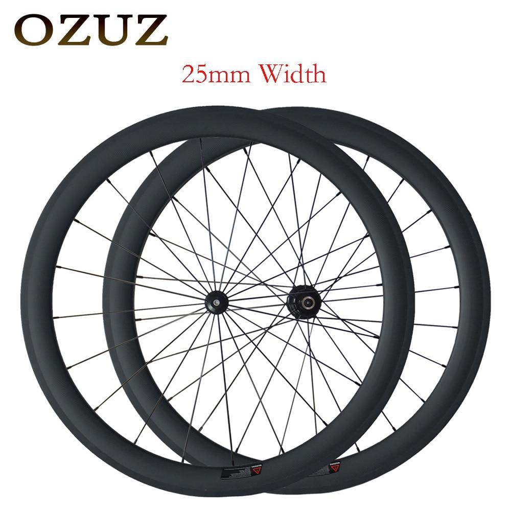 Mix hub freio V 25mm largura rodas em linha reta puxar 50 milímetros clincher 700c estrada de carbono rodado clincher super leve matte roda da bicicleta