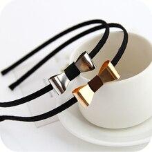 Простой дизайн, Серебристый позолоченный современный металлический бантик, повязка для волос для девочек, женский головной убор, аксессуары для волос