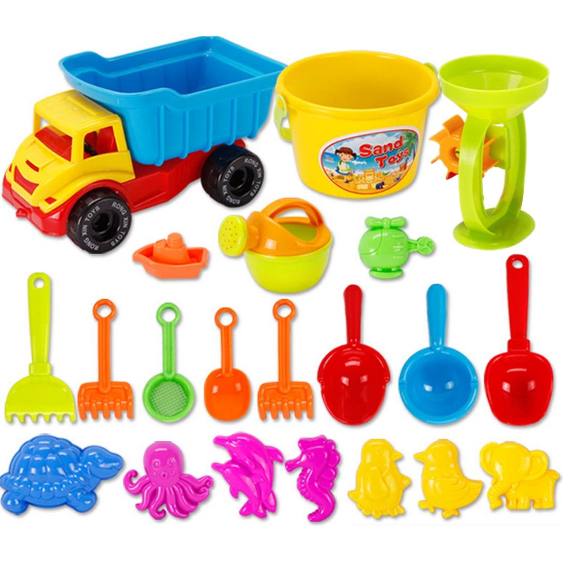 21& 31 Pieces Beach Sand Toys Set With Mesh Bag Sandbeach Toy Set Outdoor Beach Sanding Toys For Children Kids Color Random