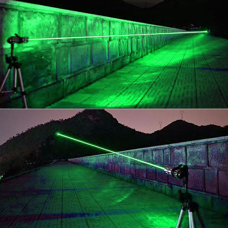 Green Laser 450nm Pointer High Power Mobile Power Lazer Pen Rechargeable Battery Light Adjustable Focus With 5 stars Caps (10)