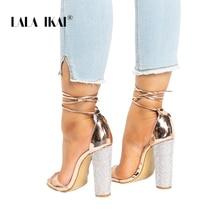 Women Heeled Sandals Bandage Rhinestone Ankle Strap Pumps Super High Heels 11 CM Square Heels Lady Shoes 014C1931 -4