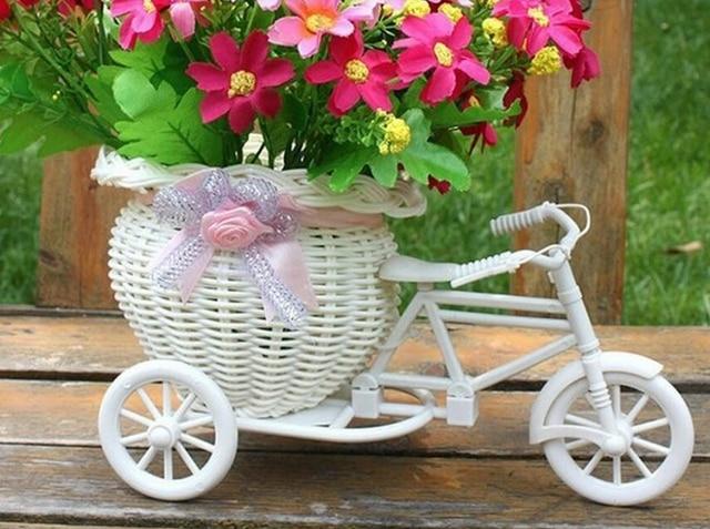 Stks mooie rotan driewieler fiets bloemenmand vaas opslag tuin